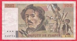 "100 Francs ""Delacroix"" 1985 --F/TTB ---Série X.101 - 1962-1997 ''Francs''"