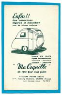 """Buvard - CARAVANES  """"Ma COQUILLE"""" Légères Et Maniables - Orléans - Transports"""