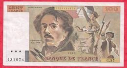 """100 Francs """"Delacroix"""" 1985 --VP/SUP ---Série G.95 - 1962-1997 ''Francs''"""