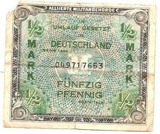Jb6.a- 1/2 Mark Der Alliierten Militärbehörde 1944, , Umlauf Gesetzt Deutschland - Banknote Allemagne Germany - [ 4] 1933-1945 : Troisième Reich
