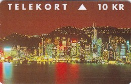 Denmark, TP 109,Part 1 Of 2 Card Puzzle,  Hong Kong Nightview, Mint, Only 2000 Issued. 2 Scans. - Denmark