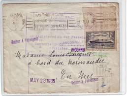 129A Lettre Le Normandie 1er Voyage Le Havre New York 1935 Très Bon état - Maritime