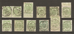 Belgique - Armoiries - Cob 83 - Petit Lot De 12° - Ath - Audregnies - Calken - Enghien - Furnes - Gosselies - Selzaete - 1893-1907 Armoiries