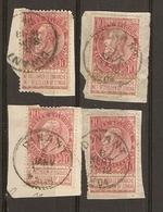 Belgique 1893/1900 - Léopold II Fine Barbe - Cob 58 - Petit Lot De 4° Sur Fragments - 1893-1900 Fine Barbe