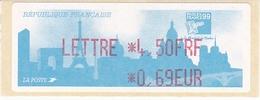 TIMBRE DE DISTRIBUTEUR 1999 PHILEXFRANCE EXPOSITION INTERNATIONALE MONDIAL DU TIMBRE N° 250  4.50F/0.69 EUROS + VIGNETTE - 1999-2009 Vignettes Illustrées