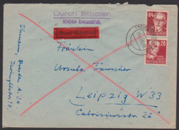 Eilbote 84 Und 20 Pf August Bebel,  Käthe Kollwitz Köpfe I N. Leipzig 5.4.51 - Zone Soviétique