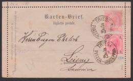 TRIEST PIAZZA-Guseppina, Kartenbrief Mit Zusatzfranbkatur 6.2.1893 Nach Leisnig, Biglietto Postale - Briefe U. Dokumente