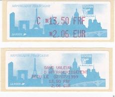 TIMBRE DE DISTRIBUTEUR 1999 PHILEXFRANCE EXPOSITION INTERNATIONALE MONDIAL DU TIMBRE N° 251  1.50F/2.06 EUROS + VIGNETTE - 1999-2009 Vignettes Illustrées