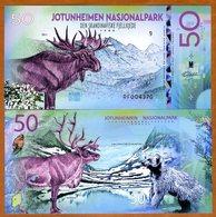 Norway, Jotunheimen National Park, 50 Kroner, Polymer, 2018 - Elk, Wolverine - Billets