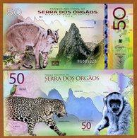 Brazil, Serra Dos Órgãos National Park, 50 Reais, Polymer, 2018 - Jaguar, Monkey - Bankbiljetten