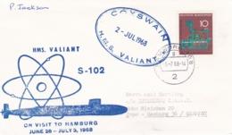 Naval Ship Cover: The British Nuclear-powered Submarine HMS Valiant S-102 Visiting Hamburg P/m Hamburg 1968 (DD24-1) - Militaria