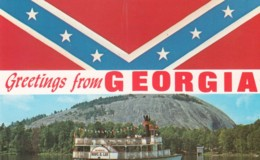 Greetings From Georgia, Confederate Flag And 'Robt. E. Lee' Tourist Riverboat, C1960s Vintage Postcard - Unclassified