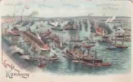 Gruss Aus Hamburg Germany, Busy Harbor Scene, Boats, Hold To Light C1890s/1900s Vintage Postcard - Halt Gegen Das Licht/Durchscheink.