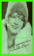 ACTRICES - ANITA PAGE,  1910-2008 -  EX. SUP. CO, CHICAGO 1928 - CUT COUPON EXHIBIT - - Acteurs