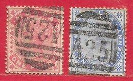 Malte N°6 1p Rouge Carminé & N°8 2,5p Outremer (A25) 1885 O - Malta (...-1964)