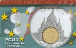 Denmark, P 129,  ECU-France, Mint, Only 700 Issued, Coin, Flag. - Denmark