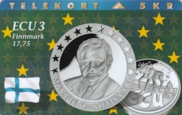 Denmark, P 071,  ECU-Finland,  Mint, Only 1300 Issued, Coin, Flag, 2 Scans. - Denmark