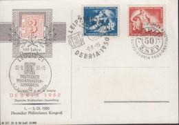 DDR 273-274 Auf Sonderkarte Mit 3 Versch. Sonderstempeln: Leipzig DEBRIA 2.9.1950 - Briefe U. Dokumente