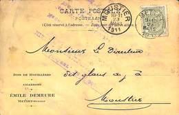 Carte Postale Publicitaire - Bois De Houillères, Charbons Emile Demeure Mettet Station 1911 - Mettet
