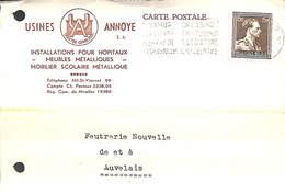 Carte Postale Publicitaire - Usines Annoye (installations Pour Hôpitaux, Meubles Métalliques, Nil-St-Vincent 1955) - Walhain