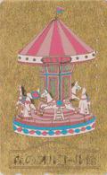 TC Dorée & Relief Japon / 110-007 - MANEGE Musée ORGUE - Cheval De Bois - Caroussel Carrousel Japan GOLD Phonecard - 210 - Musique