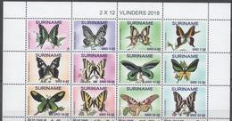 SURINAME, 2018, MNH, BUTTERFLIES, 12v , HIGH FV - Stamps