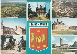 F50-033 SAINT JAYMES - 7 VUES - CIMETIERE AMERICAIN - VUE GENERALE - HOTEL DE VILLE - EGLISE - CHATEAU DE LA PALUELLE - Francia