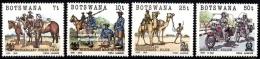 (095) Botswana  1985 / Police / Polizei / Uniforms / Horses / Motorbikes / Camels  ** / Mnh  Michel 364-67 - Botswana (1966-...)