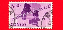 CONGO Repubblica Popolare - Usato -  1960 - Indipendenza - Mappa Della Repubblica Del Congo Indipendente E Data 30 Giugn - Congo - Brazzaville
