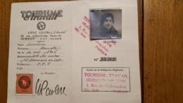 TOURISME ET TRAVAIL CARTE DE MEMBRE ACTIF  1946 - Cartes
