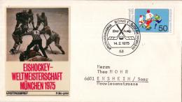 Duitsland - FDC 14-2-1975 - Eishockeyweltmeisterschaft, München Und Düsseldorf - Michel 835 - Winter (Varia)
