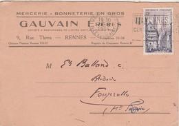 Carte Commerciale GAUVAIN Frères / Mercerie Bonneterie / 9 Rue Thiers / 35 Rennes - Maps