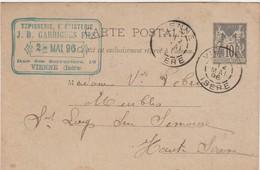 Carte Commerciale 1896 / Entier / JB GARRIGUES / Tapisserie Ebénisterie / 38 Vienne Isère - Maps