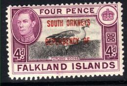 Falkland Island 1944 - 45 KGV1 4d South Orkneys Dependency MM SG C5 ( J1189 ) - Falkland Islands