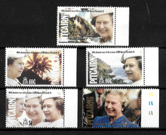 Pitcairn Islands 1992 QEII 40th Anniversary Of Accession, Complete Set MNH Marginals (7175) - Stamps
