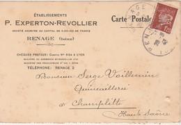 Carte Commerciale 1943 / EXPERTON REVOLLIER / 38 Renage Isère - Maps