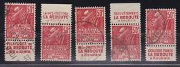 PUBLICITE: FEMME DE FACHI 50C ROUGE LA REDOUTE LOT DE 5 DIFFERENTS OBLITERES ACCP 694/695/698/699703 - Advertising
