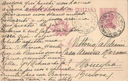 INTERO POSTALE TIPO MICHETTI C. 25 - CAT.FILAGRANO C49 MILLESIMO 21 - DA SAN COLOMBANO AL LAMBRO A MONEGLIA 8.9.1922 - 1900-44 Victor Emmanuel III