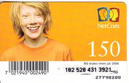 NORWAY - NetCom Prepaid Card 150 NOK, Exp.date 07/06, Used - Norway