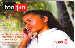 TONGA - Girl On Phone, TonFon Prepaid Card TOP$5, Used - Tonga