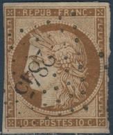 FRANCE Y&T N°1a Cérès 10c Bistre-brun. Oblitéré Losange Petits Chiffres N°2845 Savigny Sur Orge - 1849-1850 Cérès