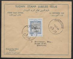 Sudan - 1948 Stamp Jubilee First Day Cover - Khartoum Postmark - Sudan (...-1951)
