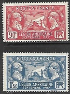 France  1927  Sc#243-4   American Legion Set  MNH  2016 Scott Value $10 - Frankreich