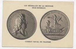 LES MEDAILLES DE LA MONNAIE - SERIE HISTORIQUE - COMBAT NAVAL DE PALERME - CPA NON VOYAGEE - 75 - Monnaies (représentations)