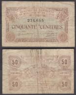 France 50 Centimes 1915 (VG-F) Condition Banknote MOUY (Oise) - Cámara De Comercio