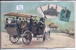 PARIS- CARTE A SYSTEME- MULTI-VUES- RARE FANTAISIE  A ROUE- VISITE DE PARIS EN VEHICULE HIPPOMOBILE - France