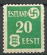 ESTLAND ESTONIA  Dt. Okkupation Tartu Dorpat 1941 Michel 2 Y * - Occupation 1938-45