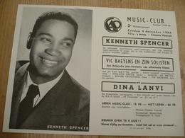 Jazz Gent Vooruit 1955 Kenneth Spencer & Vic Bayens 18 Op 14 Cm - Affiches