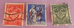 FRANCE FRANCHISE MILITAIRE ANNEES 1946/1958 YT 9/11/12 OBLITERES SUR CHARNIERES - Franchise Militaire (timbres)