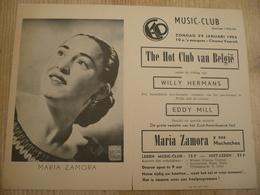 Gent Vooruit 1956 Maria Zamora Y Sus Muchachos Willy Hermans Eddy Mill  30 Op 15 Cm Affiche - Affiches